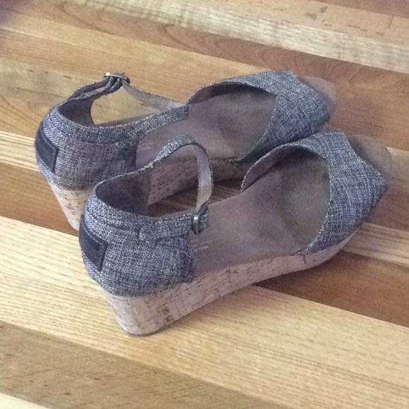 80930c5eace Tom s Metallic Tweed Wedge Heel Sandals. M 5a9737dd9cc7efedb631f718
